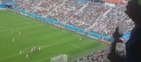 گل پیروزی ایران به مراکش از زاویه تماشاگران ایرانی در ورزشگاه