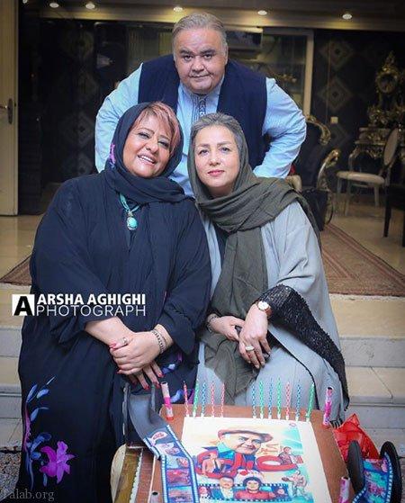 جشن تولد اکبر عبدی با حضور همسرش و رابعه اسکویی