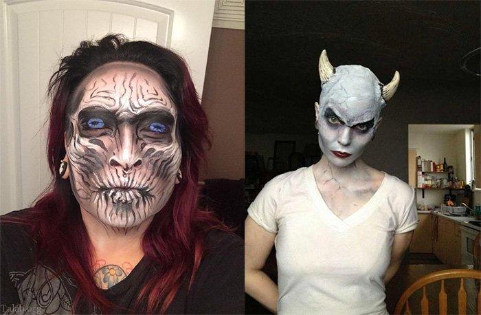 عکس های انواع گریم ترسناک جشن هالووین + گریم دخترانه جشن هالووین