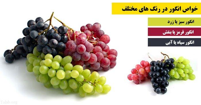 خواص انگور در رنگ های مختلف (هر رنگ انگور و خواص آن)