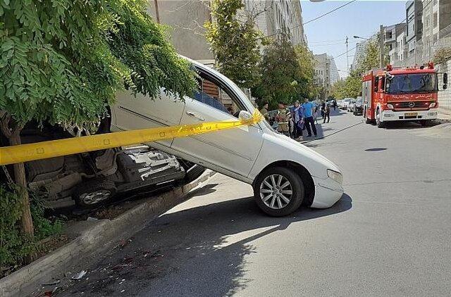 تصادف عجیب بدلیل دنده عقب در تهران (+ عکس)
