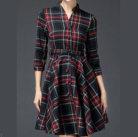 مدل لباس چهارخانه زنانه پاییزی + انواع مدل تونیک پاییزی زنانه و دخترانه