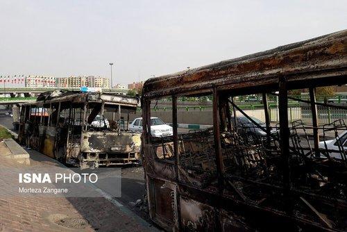 تصاویر خسارات به اموال عمومی در تهران ؛ شیراز ؛ اصفهان ؛ اهواز و تبریز